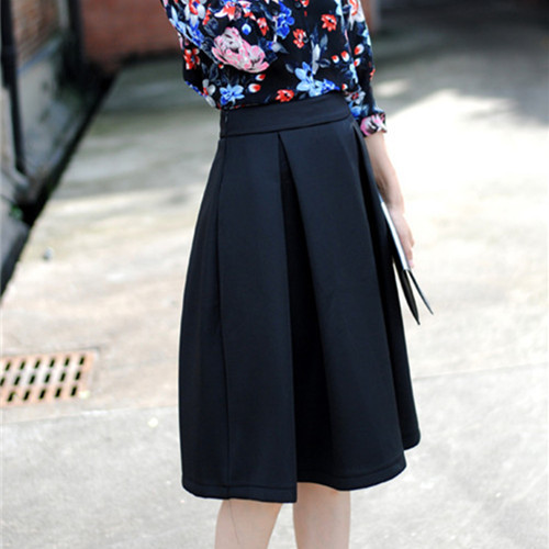 Free Shipping Spring Summer New 2014 Vintage Knee Length Skirts Women Pleated High Waist Skirt Femal Plus Size 3 Colors MYB33535-in Skirts from Apparel & Accessories on Aliexpress.com