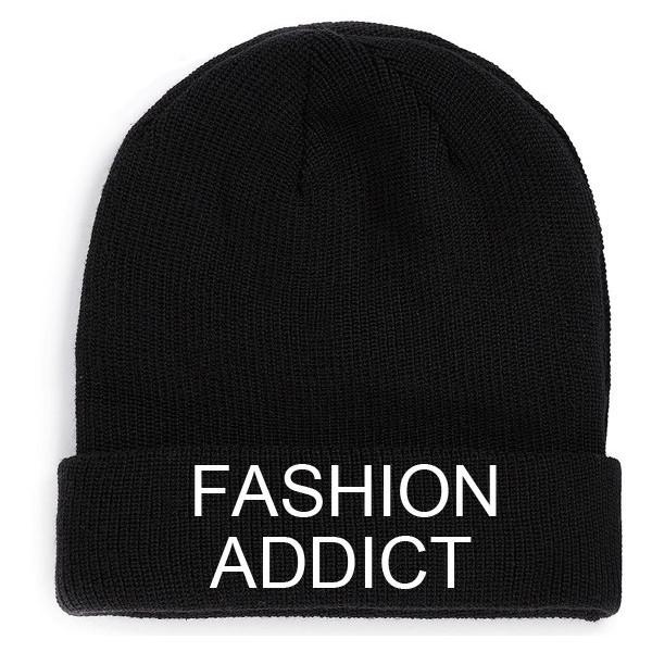 Fashion Addict Beanie Black Hat Embroidery fashion retro lov... - Polyvore