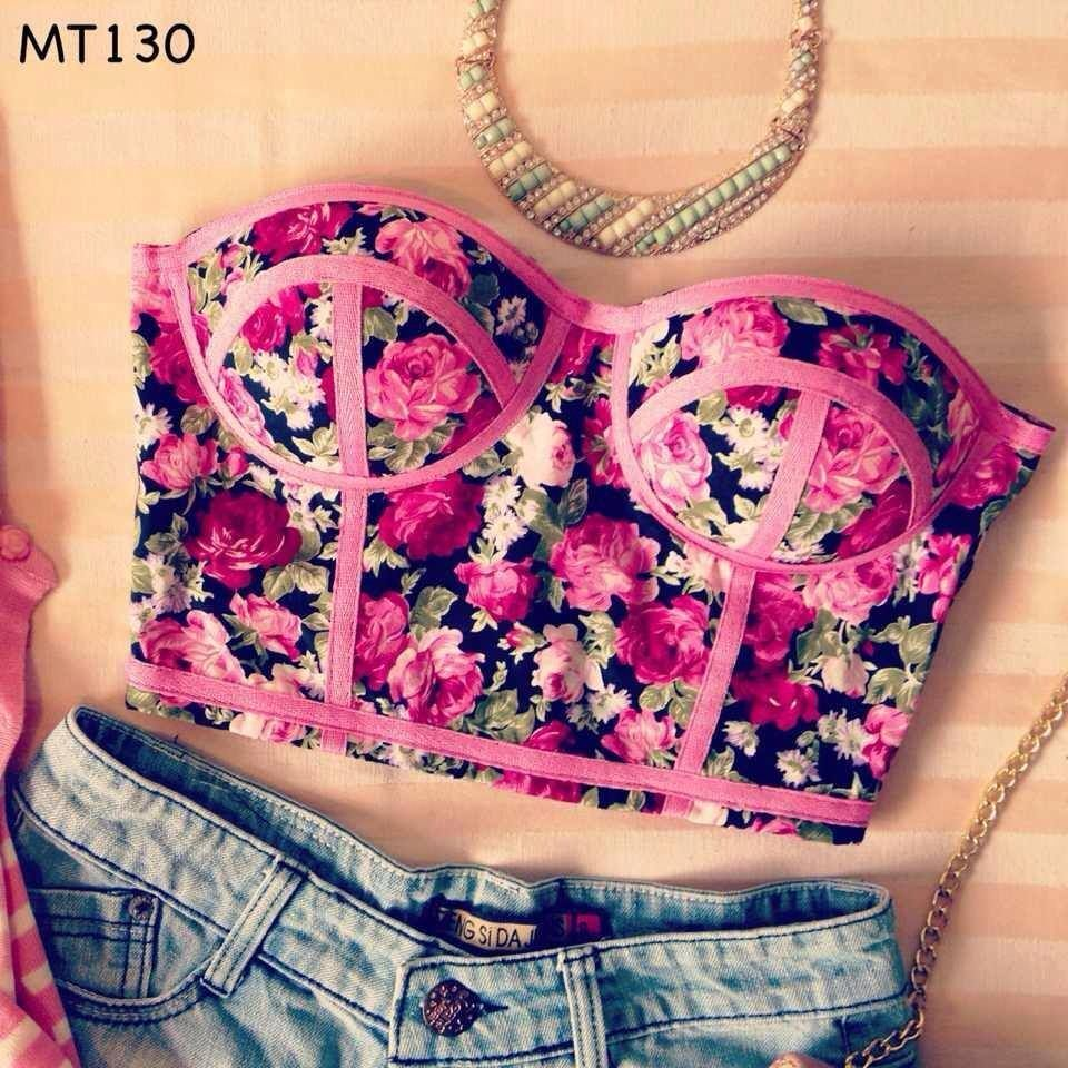 Pink Floral Bustier Corset Style Midriff TOP | eBay