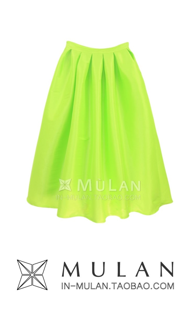 2013 New fashion yellow vintage high waist skirt pleated royal acne a full skirt free shipping neon yellow green black-inSkirts from Apparel & Accessories on Aliexpress.com