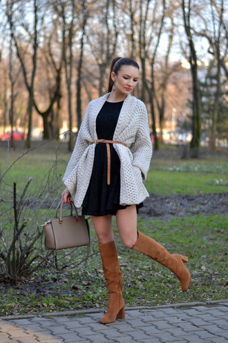 my silk fairytale blogger suede boots knitted cardigan little black dress handbag cardigan dress shoes bag
