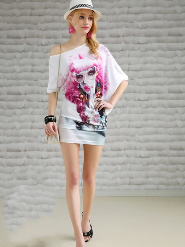 Fashion Fitted Printing Half Sleeve T-shirts : KissChic.com