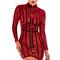 Clothing : bodycon dresses : 'gigi' deep red velvet and lace mini dress