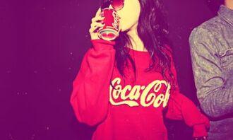 sweater red coca cola off the shoulder sweatshirt coca-cola swag cocoa cola shirt