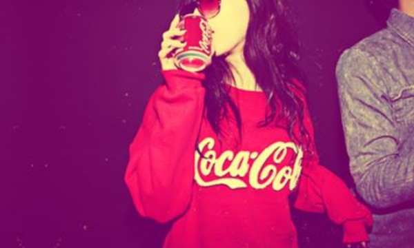 sweater red coca cola off the shoulder sweatshirt coca-cola swag cocoa cola shirt