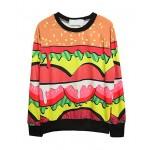 Colored Hamburger Printed Sweatshirt with Raglan Sleeves - Sweatshirts & Hoodies - Clothing