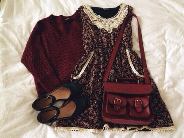 dress sweater bag shoes vintage purse floral dress girly sweet cute lovely hippie hipster vans short girl teenagers cool teens fabulous colorful dress teenagers floral dress sleeveless sleeveless dress lace dress fall outfits fall outfits berry