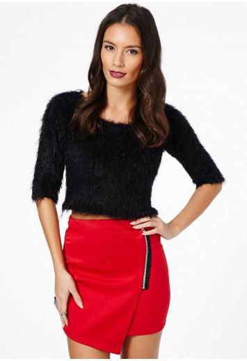 Ernestina Zip Detail Scuba Mini Skirt - Skirts - Mini Skirts - Missguided