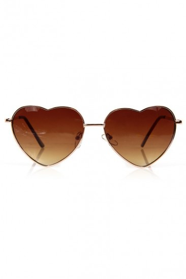 LoveMelrose.com From Harry & Molly | Heart Sunglasses - Gold