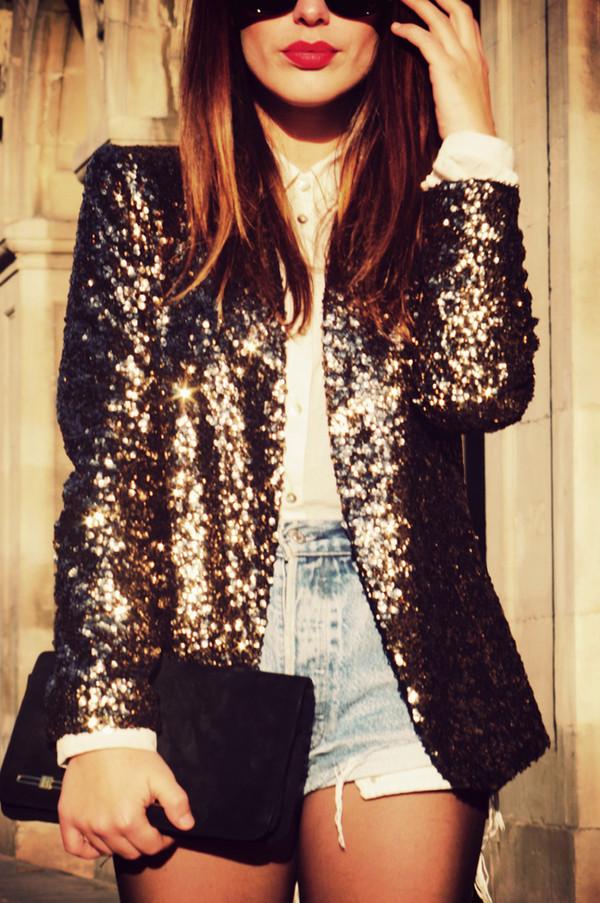 jacket coat blazer glitter grey black white blouse shorts gold sequins