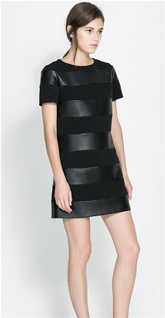 OL faux leather patchwork dress in 3 size high quality of cotton blends&faux leather casual fashion summer autumn spring dress-in Dresses from Apparel & Accessories on Aliexpress.com