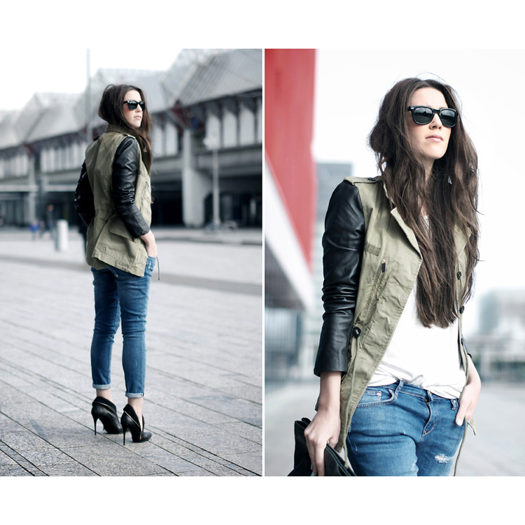 Khaki Military Jacket with PU Leather Sleeves  - Retro, Indie and Unique Fashion
