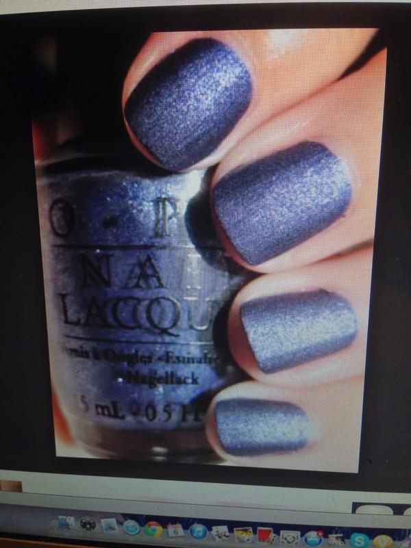 nail polish dark blue polish sparkle opi