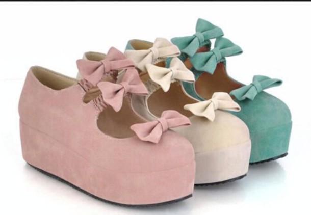 shoes kawaii shoes bows pastel kawaii