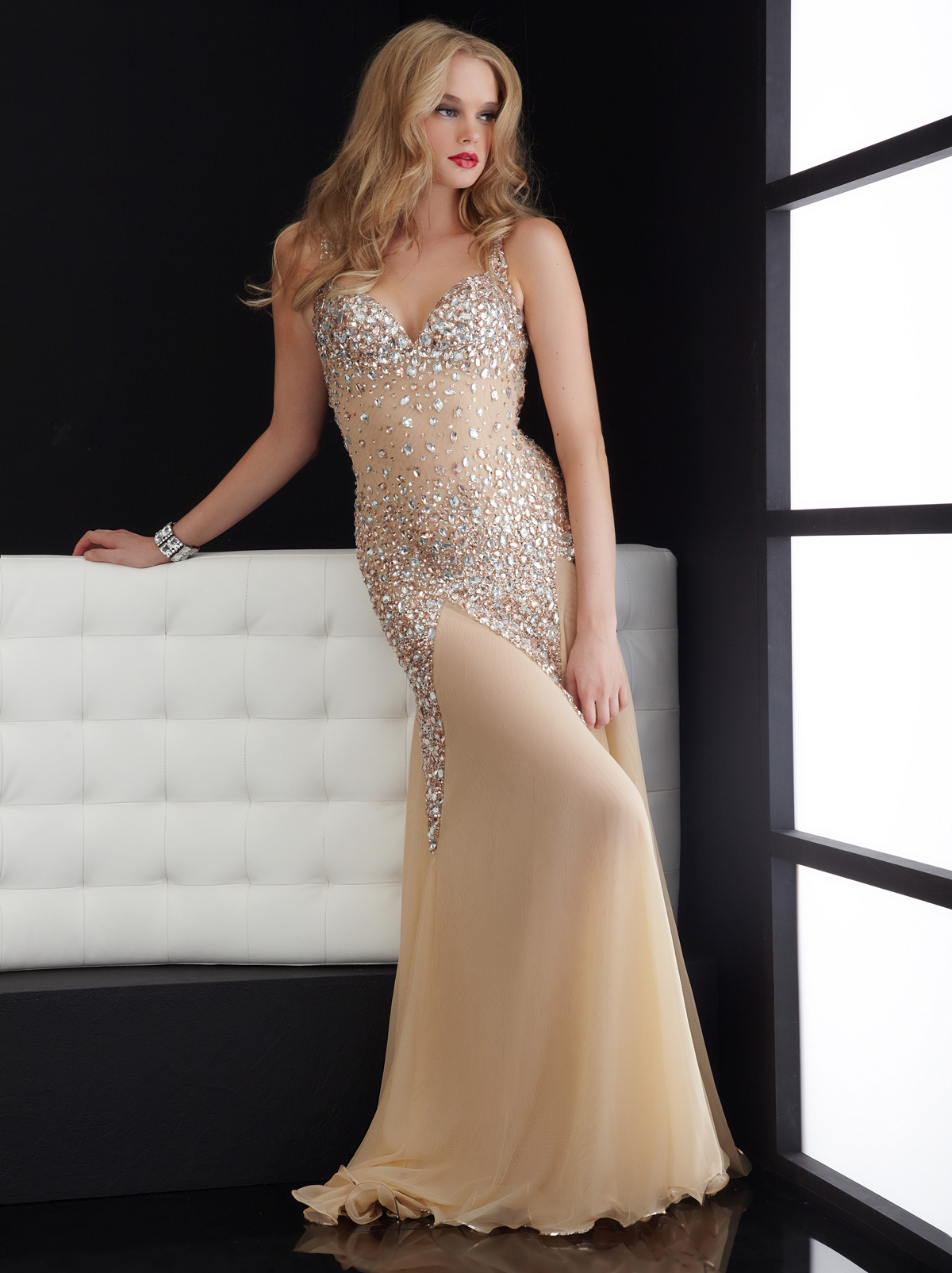 Sequin Bodice Sweep Train Jasz Couture Prom Dress 4614 [A378] - $158.00 :