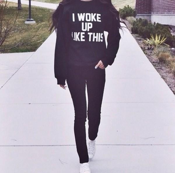 t-shirt black i woke up like this jeans sweater