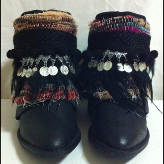 shoes boho bohemian ethnic cowboy boots handmade etsy native festival black boots fairtrade rag rug coins gypsy hippie upcycledboots coachella coachella style