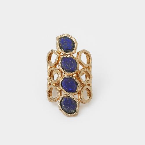 Blue Lapis Goddess Honeycomb Ring by Isharya