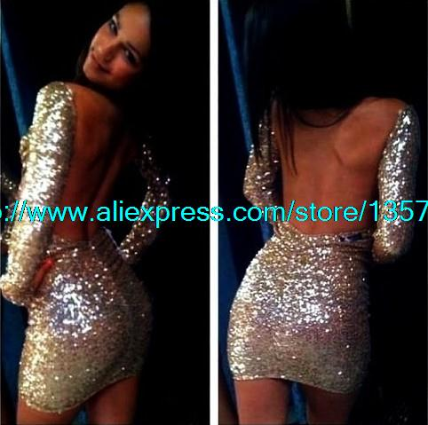 Aliexpress.com : Buy Free Shipping Sexy strapless sequined dress hollow back from Reliable dress style suppliers on ED FASHION