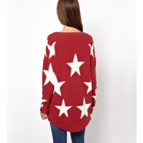 Red White Five Pointed Star Pullover Sweater @ Sweaters,Womens Sweater,Sweater Dress,Cute Sweater,Knit Sweater,Oversized Sweaters,Cashmere Sweaters,Junior Sweater,Polo Sweater,Black,White Sweater,Cardigan Sweater,Sweater Vest,Dot Print,Cable Knit,Long Sleeve Sweater for Girls