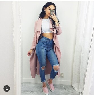 coat pink pink coat blush pink where did u get that long cardigan long coat trench coat women long coat famous coat girls long coat waterfall coat jeans shirt pants denim fall outfits high waisted jeans skinny jeans shoes flats slip on shoes pink shoes