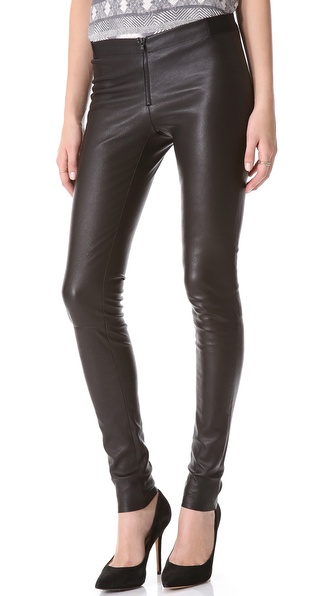 alice   olivia Zip Front Leather Leggings | SHOPBOP