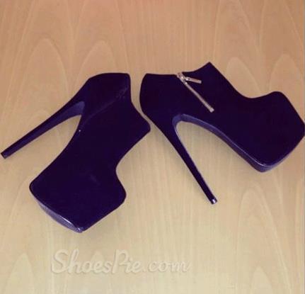 Elegant Purple Suede Platform High Heel Ankle Boots