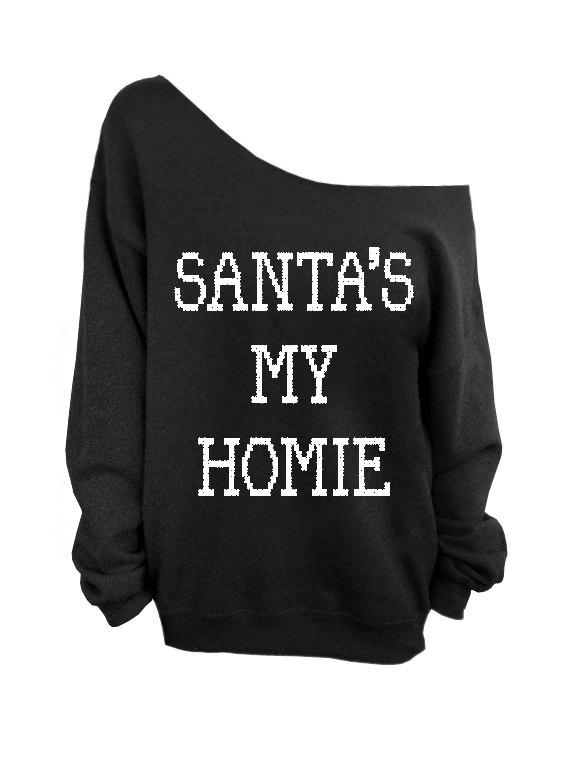 Santa's My Homie  Ugly Christmas Sweater  Black by DentzDenim