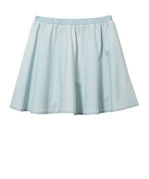 Teens Light Blue Denim Skater Skirt on Wanelo
