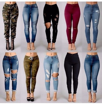 jeans knee slit jeans army pants ripped jeans high waisted jeans distressed high waisted jeans black jeans blue jeans camo pants burgundy jeans denim pants joggers camouflage ca?o den?? blac? jean? high wast ankle length burgundy cargo pants skinny jeans