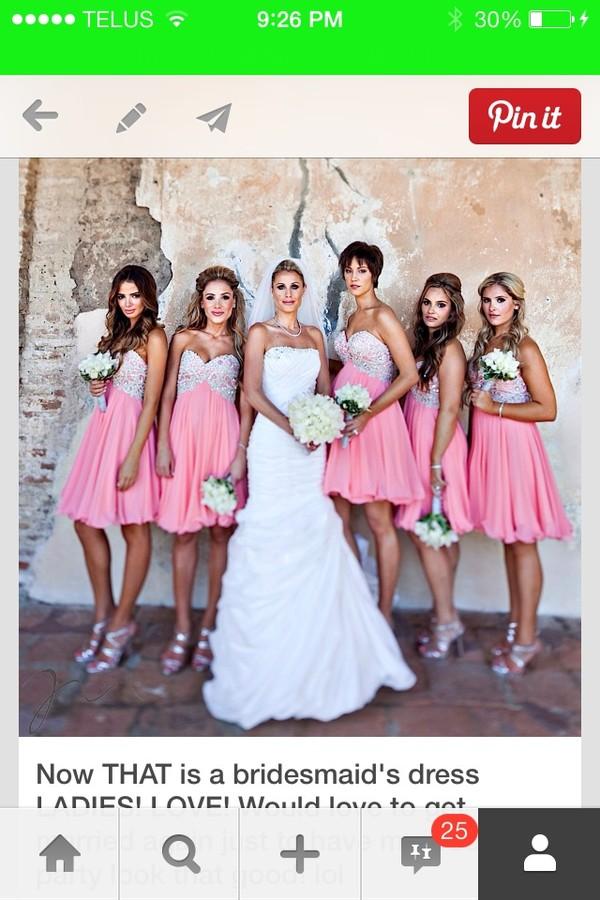 dress pink rhinestone bridesmaid dress