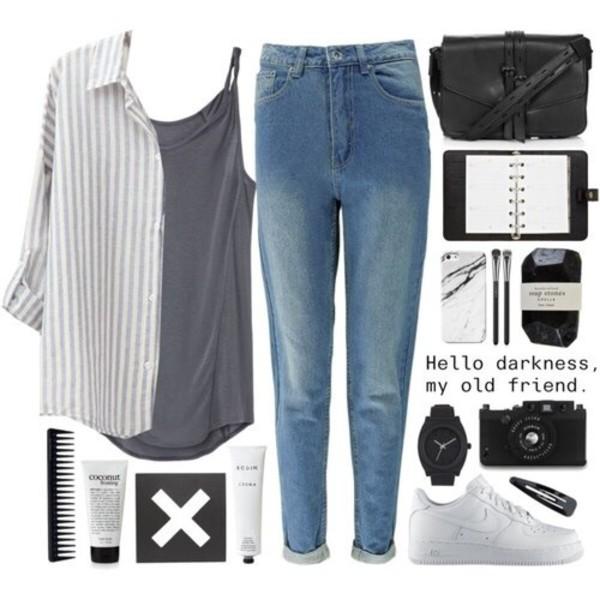 jeans denim vintage cardigan blue grey shoes polyvore blouse bag tank top