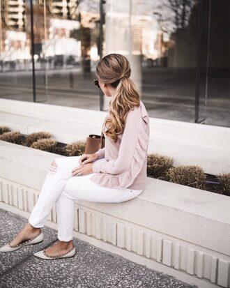 the teacher diva blogger sweater shorts romper jacket pink sweater ballet flats