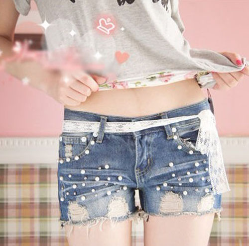 Free Shipping Fashion Pearl Hole Decoration Lace Lacing Female Denim Shorts  on Luulla