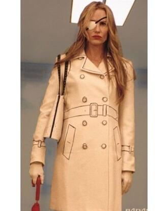 coat trench coat kill bill movie mochino line jacket cream drawn on moschino movies jewels