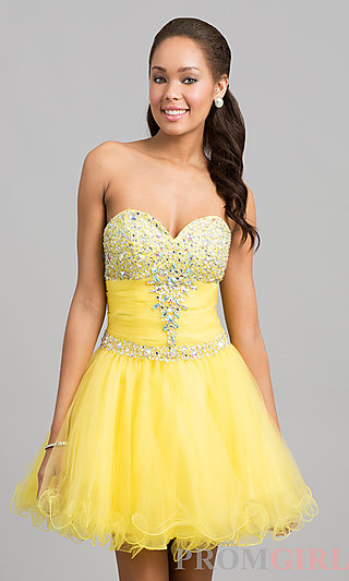 Prom Dresses, Celebrity Dresses, Sexy Evening Gowns - PromGirl: Short Strapless Sweetheart Dress