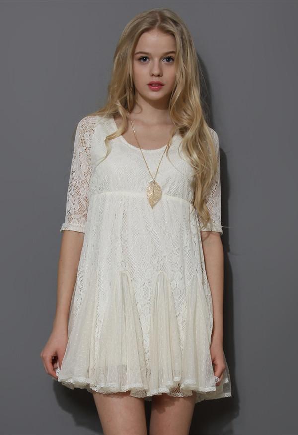 dress dolly full lace pieced flare hem