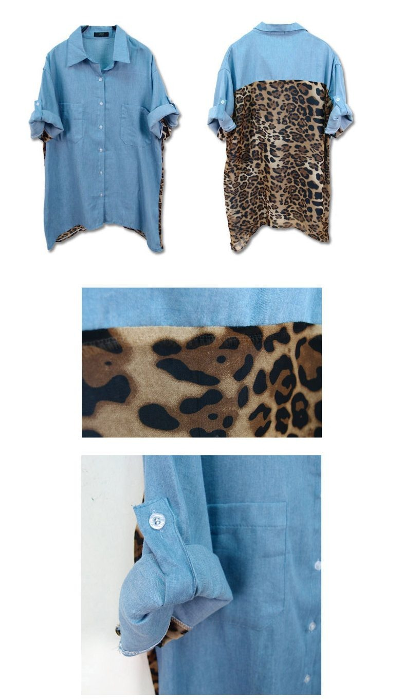 2013 Korean Street Fashion back leopard blouse stitching denim casual Long Chiffon T Shirt TOP SALE t shirt Wholesale T21158-in T-Shirts from Apparel & Accessories on Aliexpress.com
