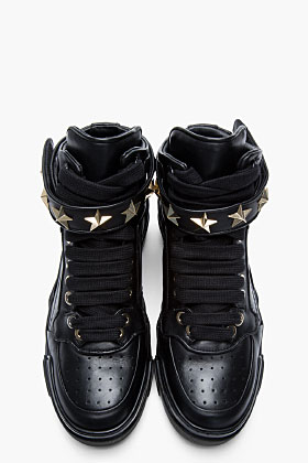 Givenchy Black Leather Star-embellished High-top Sneakers for men | SSENSE