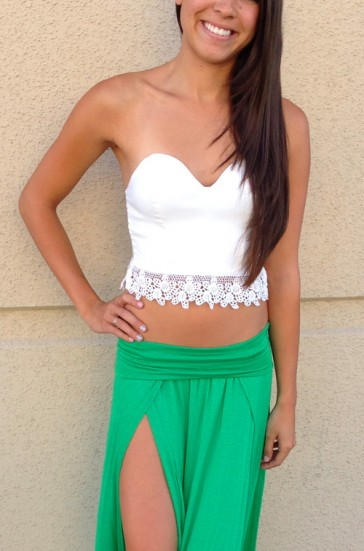 White Lace Trim Crop Top - Sleeveless - Tops - Apparel