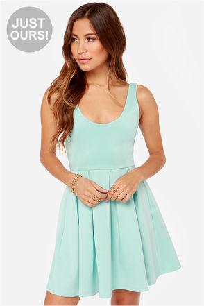 Cute Mint Blue Dress - Skater Dress - $43.00