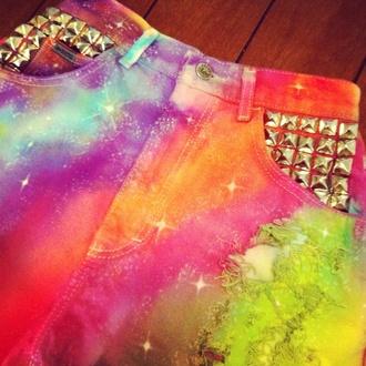 shorts colorful galaxy shorts galaxy print studded pyramid studs bright vibrant galaxy high waisted shorts high waisted shorts