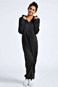 Effie Plain One Colour Hooded Onesie at boohoo.com