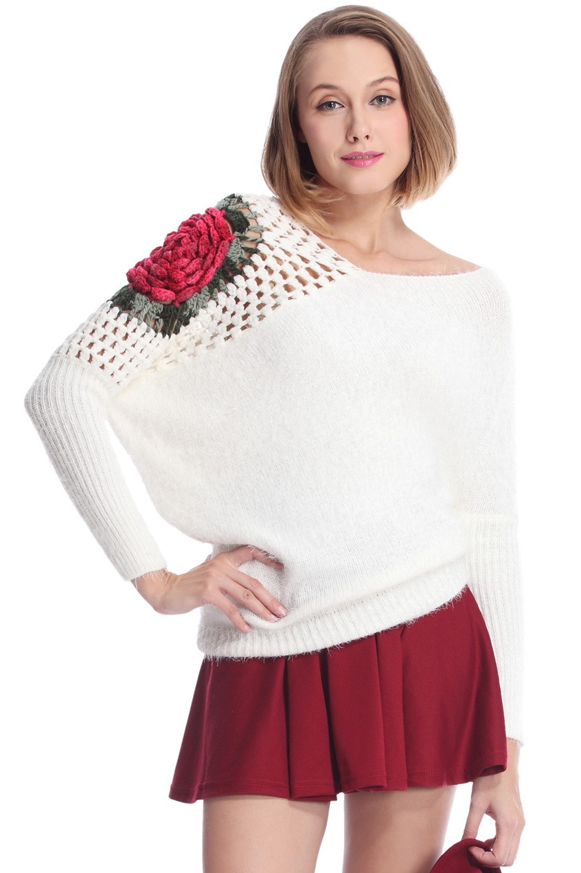 ROMWE | Cut-out Rose Crochet White Jumper, The Latest Street Fashion