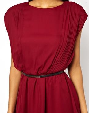 ASOS   ASOS Skater Dress With Soft Pintucks And Belt at ASOS