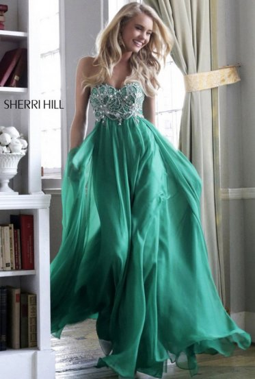 Emerald Green Strapless Beading Top Prom Dresses 2014 Sale [Sherri Hill 3907 Green] - $235.00 : Prom Dresses 2014 Sale, 70% off Dresses for Prom