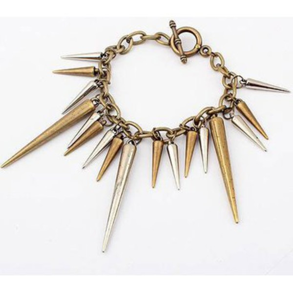 jewels punk style bracelet bracelets spikes bronze silver rock