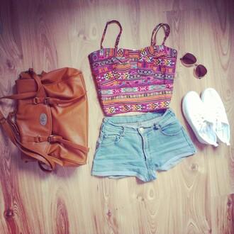 shorts bag high waisted shorts sunglasses sneakers satchel bag outfit shoes denim shorts denim top aztec leather bag