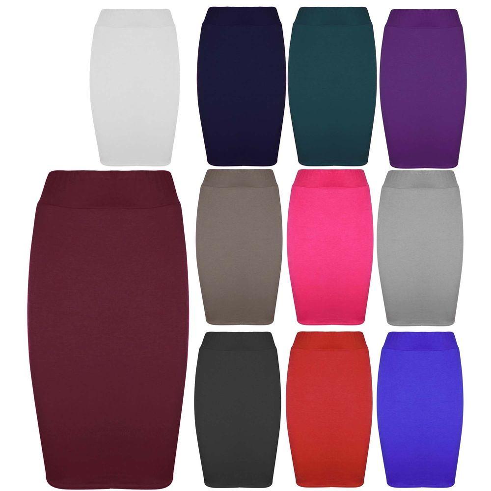 Womens Jersey Stretchy Ladies Pencil Plain Office Bodycon Skirt Plus Sizes 8-26 | eBay
