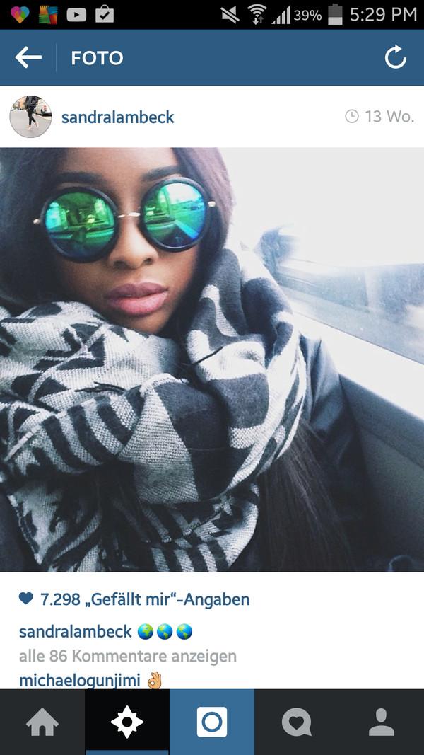scarf mirrored sunglasses blue glasses sunglasses
